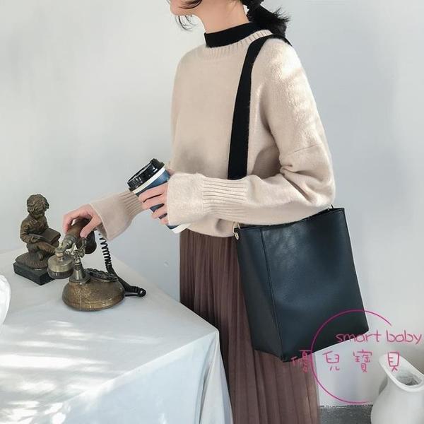 手提包 單肩大包包女新品百搭寬帶水桶包手提斜挎包大容量子母包【快速出貨】