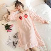 睡裙女秋冬季珊瑚絨性感長款法蘭絨長袖睡衣女甜美可愛大碼家居服【販衣小築】
