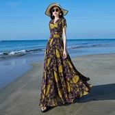 雪紡洋裝 2021年夏新款小雛菊連身裙女雪紡長款收腰顯瘦氣質仙超長裙到腳踝  夏季新品