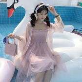 一字領洋裝 夏裝韓版中長款抹胸吊帶洋裝2019新款紗裙仙女裙長裙女 防曬衣『鹿角巷』