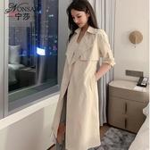 寧莎2019秋冬季新款韓版西裝領大衣洋氣顯瘦中長款風衣外套上衣女