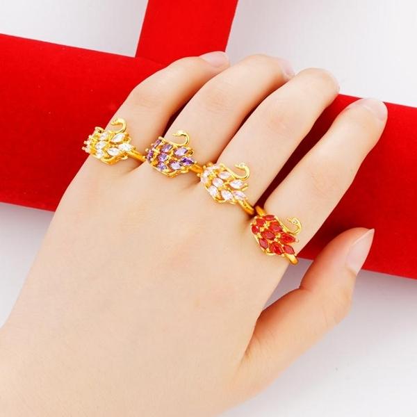 沙金戒指女鑲鉆寶石戒子仿真黃金活口天鵝指環鍍金簡約開口戒