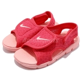 Nike 涼鞋 Sunray Adjust 4 TD 紅 粉紅 涼拖鞋 嬰兒 小童鞋 Baby鞋【PUMP306】 386521-608