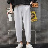 夏季新款男士寬鬆條紋韓版潮流情侶運動百搭直筒九分休閒褲子 GB5351『東京衣社』