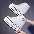 運動鞋 新款高幫潮鞋女百搭帆布厚底松糕休閑內增高小白鞋