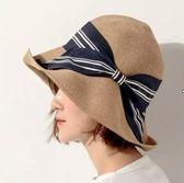 天天日本款女士草帽蝴蝶結優雅可折疊盆帽漁夫帽子夏天遮陽帽  巴黎街頭