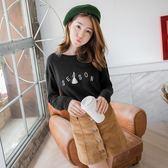 OrangeBear《AB1603》素色字母刺繡流蘇綴飾造型棉感上衣.2色--適 XL~3L