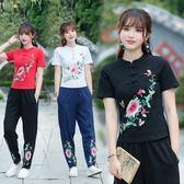 中國風秋冬民族風女裝刺繡花修身大尺碼立領短袖t恤女上衣