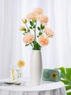 假花仿真牡丹花絹花假花玫瑰花束婚慶家居客廳餐桌花插花裝飾幹花擺件JY