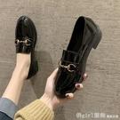 牛津鞋 英倫風小皮鞋女2020新款春季學生百搭黑色一腳蹬ins粗跟中跟單鞋 618購物節