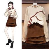 大碼套裝二件式L-4XL實拍大碼女裝秋瘦圓領毛衣 時尚短裙兩件套潮R16.0829依品國際