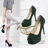 (交換禮物)12CM超高跟鞋細跟防水台魚嘴鞋荷邊淺口職業單鞋女