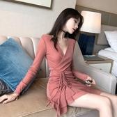 長袖洋裝 2020秋裝新款亮片抽繩性感夜店V領修身包臀荷葉邊打底長袖洋裝