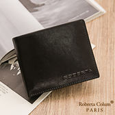 Roberta Colum - 魅力無限牛皮款4卡3照可拆式上下翻短夾-黑色