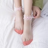 女襪中襪長襪 襪子女蕾絲襪花邊網紅水晶短襪淺口棉ins潮夏季夏天薄款網紗船襪 進店領券