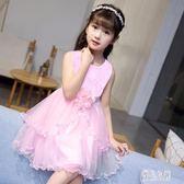 女童連衣裙歐美英倫名媛風兒童蓬蓬裙時尚韓版中大童無袖蕾絲公主洋裝裙2555