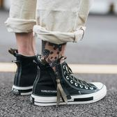 高筒鞋—夏季情侶高筒帆布鞋男韓版潮流百搭ins超火的港風運動透氣板鞋子 korea時尚記