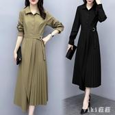 大尺碼OL洋裝2020新款連身裙大碼胖mm中長款過膝收腰顯瘦氣質長裙 LF1882【VIKI菈菈】
