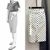 2018夏季女裝波點鬆緊腰高腰牛仔裙子半身不對稱一步包臀裙中長款