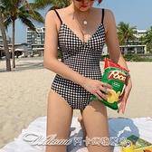 新款韓版性感 時尚格子高腰三角連體泳衣女泡溫泉泳裝沙灘比基尼 阿卡娜