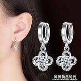 純銀耳扣韓國簡約銀飾品S925銀耳環超閃水晶鋯石小耳圈耳墜防過敏