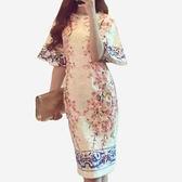 青花瓷印花荷葉袖修身洋裝