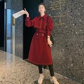風衣大衣-長款寬鬆繫帶過膝時尚女外套73yt32【巴黎精品】