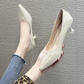 新款春夏女鞋仙女風淺口單鞋中跟舒適白色上班皮鞋高跟鞋細跟 【快速出貨】