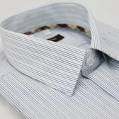 【金‧安德森】經典格紋繞領藍條紋短袖襯衫
