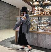 秋冬新款韓版寬鬆顯瘦單排扣復古長袖針織開衫中長版休閒毛衣上衣