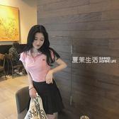 polo衫 夏裝新款韓范chic修身顯瘦閨蜜裝復古簡約純色翻領短袖T恤女上衣·夏茉生活