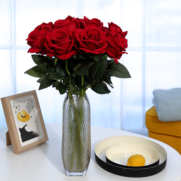 假花仿真玫瑰花單支 假玫瑰花 客廳裝飾花絨布紅玫瑰仿真花束絹花假花JY
