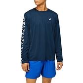 Asics [2011A818-407] 男 片假名長袖上衣 海外版 運動 跑步 吸濕 排汗 輕量 亞瑟士 丈青 深藍
