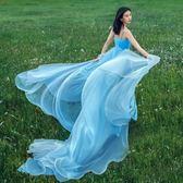 新款森系影樓主題服裝個性飄逸拍照外景吊帶彩色婚紗禮服        SQ7223『美鞋公社』 TW