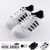[Here Shoes]男款休閒鞋-MIT台灣製 皮質鞋面 基本款簡約線條 小白鞋 板鞋 運動鞋-KHCK-702