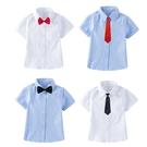 短袖襯衫 兒童折袖上衣短袖T恤 男童襯衫 白色襯衫 畢業服 88672