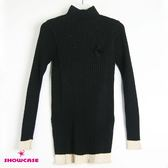 【SHOWCASE】袖襬配色長版針織上衣(黑色)