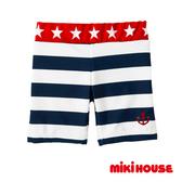 MIKI HOUSE 抗UV星星條紋海軍風泳褲(紅/藏藍)
