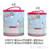 正韓可愛卡通化妝包大容量 居家旅行收納包印花圓桶護膚品手提包