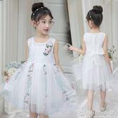 夏季女童新款長款紗裙四朵花朵洋裝背心裙110-160碼1119 優家小鋪