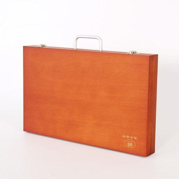 歐式復古上色桐木手提畫箱輕便型工具箱筆盒油畫箱igo 全館免運