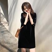 夏裝2021年新款女大碼遮肚短袖絲絨連身裙寬鬆氣質打底裙子200斤 夏季新品