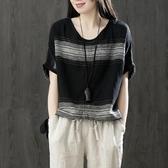 夏裝新款短袖文藝復古棉麻T恤衫寬鬆亞麻顯瘦T恤女上衣服打底衫