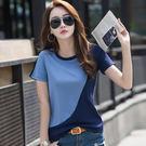【GZ32】短袖t恤 韓版素面拼接圓領棉質短袖上衣
