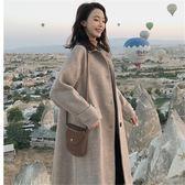 毛呢外套  大衣秋冬季毛呢赫本風中長款韓版寬松學生森系