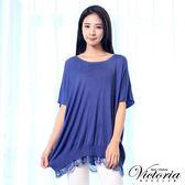Victoria  下擺蕾絲剪接寬鬆線衫-女-霧藍