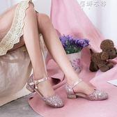 可愛甜美女童跳舞鞋低跟方跟圓頭包頭女士涼鞋親子鞋女童單鞋 蓓娜衣都