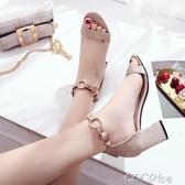 高跟女涼鞋歐美性感一字帶粗跟涼鞋女夏季新款時尚百搭高跟鞋絨面露趾春季特賣