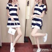 運動裝 洋氣短褲套裝女夏季休閒時尚社會寬鬆顯瘦運動短袖兩件套   瑪麗蘇