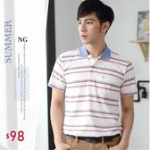 【大盤大】(P30503) NG恕不退換 男POLO衫 M L XL 條紋 短袖休閒衫 口袋工作服 戶外 寬鬆 透氣